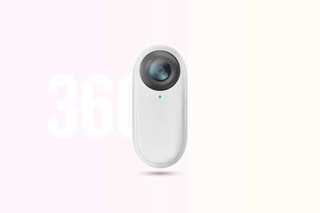 Weiße kompakte 360-grad-action-kamera für virtuelle realität.