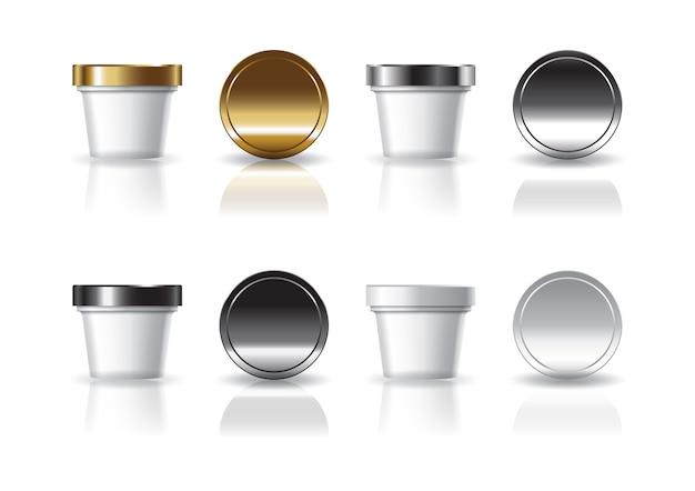 Weiße kosmetik- oder lebensmittelrunde tasse mit 4 farben gold-silber-schwarz-weiß-deckel modell vorlage.