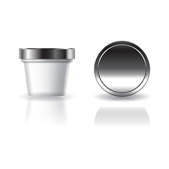 Weiße kosmetik- oder nahrungsmittelrunde schale mit silbernem deckel für schönheits-, gesundes oder nahrungsmittel.