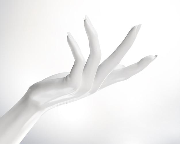 Weiße kosmetische elegante hände gestikulieren in der 3d illustration