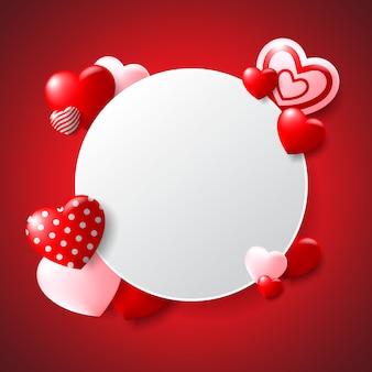 Weiße kreis-valentinstag-vektorillustration