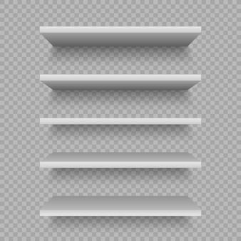 Weiße ladenregale für produkt. leere leere vitrine. realistische bücherregal ladenregal, einkaufswarenmarkt produkte regale.