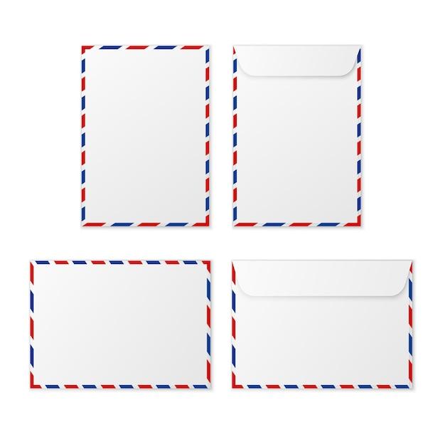 Weiße leere briefumschläge aus papier für vertikale und horizontale dokumentenumschläge a4