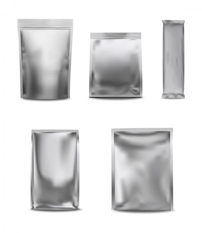 Weiße leere folie pack plastiktüte set