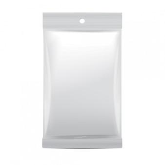 Weiße leere folienbeutelverpackung für lebensmittel, snacks, kaffee, kakao, süßigkeiten, cracker, chips, nüsse. vektorplastikpackung verspotten