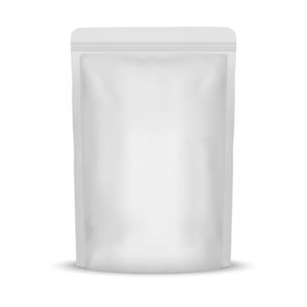 Weiße leere foliennahrungsmittelbeutel-verpackung