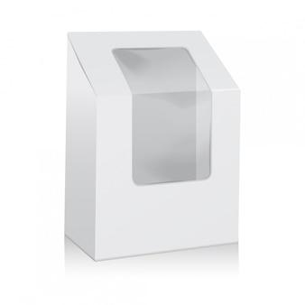 Weiße leere karton-dreiecksbox. packungen zum mitnehmen mock up with plastic window.