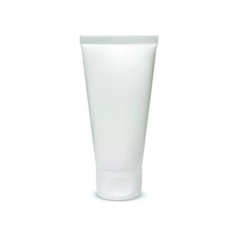 Weiße, leere kosmetiktubenschablone auf weiß.