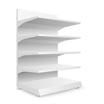 Weiße leere ladenregale auf weißem hintergrund. regale für den einzelhandel. schaufenstervorlage. illustration