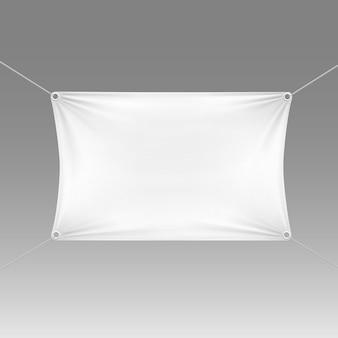 Weiße leere leere horizontale rechteckige fahne mit eckenseilen.