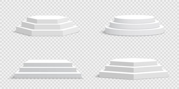 Weiße leere podien auf transparent. sockel.