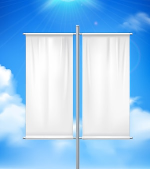 Weiße leere realistische doppelpfostenfahnenanzeigenflagge im freien