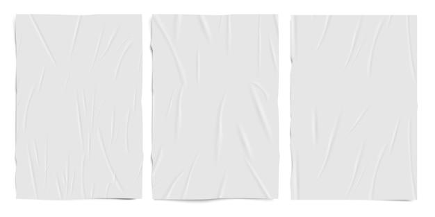 Weiße leere schlecht geklebte papierstruktur, feuchte papierblätter mit falteneffekt, realistischer vektorsatz