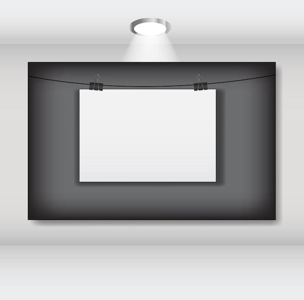 Weiße leere seite mit clip-vektor-illustration