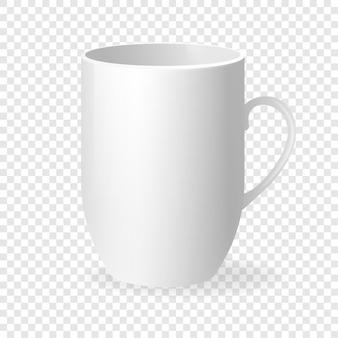 Weiße leere tasse im klassischen stil auf transparentem hintergrund. weißer hintergrund. vektor-illustration.