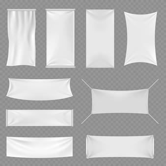 Weiße leere textilwerbungsfahnen