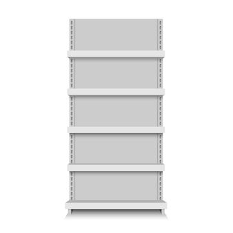 Weiße leere vektorspeicherregale. ladenregal supermarktstand