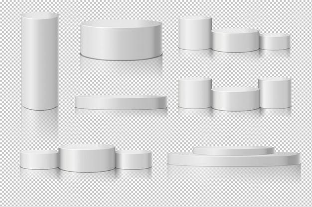 Weiße leere zylinderschablonensatz mit schattenreflexion auf transparenzhintergrund.
