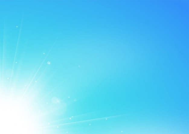 Weiße lichtstrahlen, die auf hintergrund des blauen himmels leuchten
