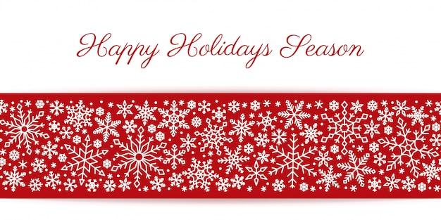 Weiße linie der nahtlosen grenze der schneeflocke auf rotem hintergrund, weihnachten, neues jahr, winterschneemuster.