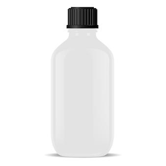 Weiße medizinische glasflasche lokalisiert realistische phiole