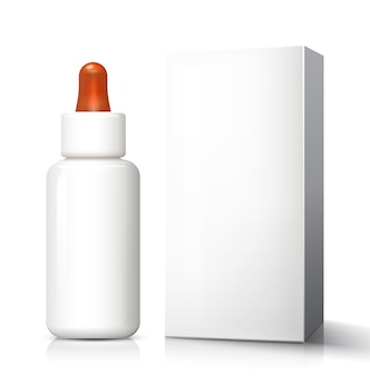 Weiße medizinische glasflasche mit tropfer, pipette, pipette, pipette, augentropfen.