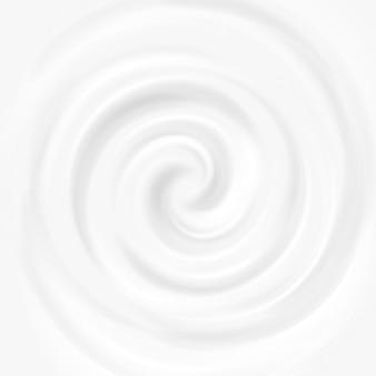 Weiße milch, jogurt, kosmetikproduktstrudelsahneillustration. mousse whirlpool und vortex
