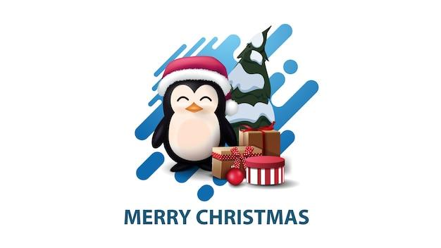 Weiße minimalistische moderne weihnachtspostkarte mit blauer abstrakter flüssiger form