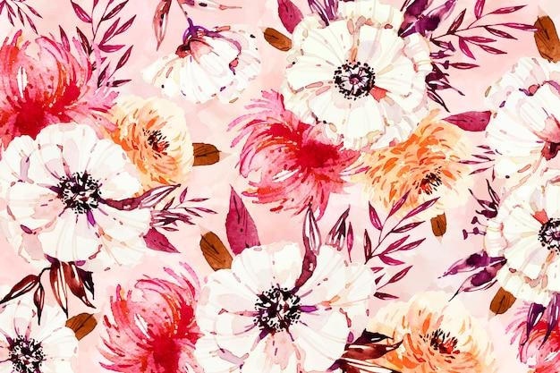 Weiße mit blumenblumenblätter auf aquarellhintergrund