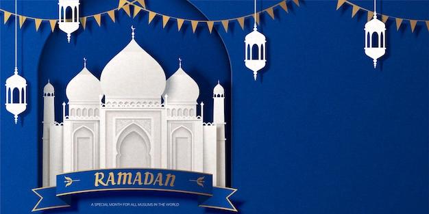 Weiße moschee des ramadan-banners und papierkunstdesign der lampen