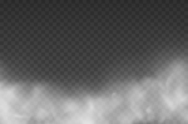 Weiße nebelbeschaffenheit lokalisiert auf transparentem hintergrund dampfbeschaffenheitsillustration