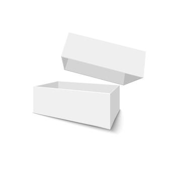 Weiße offene box auf weißem hintergrund. kiste mit schatten öffnen. illustration