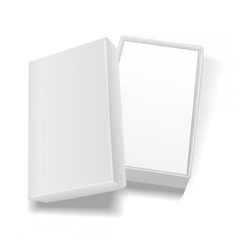 Weiße offene leere rechteckige kartonschablone. für produkte, verpackung, branding, werbung. draufsicht