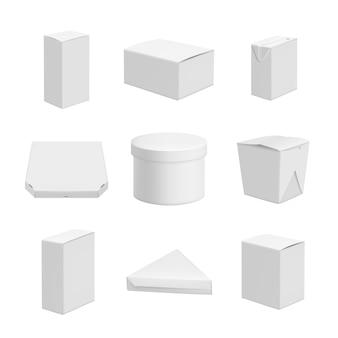 Weiße pakete, realistisch für leere pakete