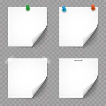 Weiße papieranmerkungen und aufkleber eingestellt