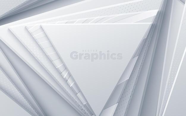 Weiße papierdreiecke mit gewelltem und gepunktetem muster