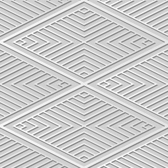 Weiße papierkunst diamond check cross vortex frame line, stilvoller dekorationsmusterhintergrund für web-banner-grußkarte