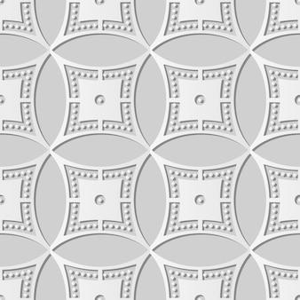 Weiße papierkunst runder kreis-kreuzrahmen-punkt-linie, stilvoller dekorationsmusterhintergrund für web-banner-grußkarte