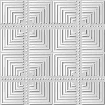 Weiße papierkunst square check cross round dot line, stilvoller dekorationsmusterhintergrund für web-banner-grußkarte