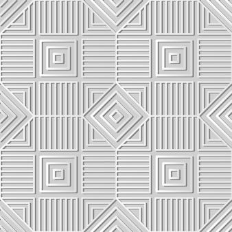 Weiße papierkunst square check spiral cross frame line, stilvoller dekorationsmusterhintergrund für web-banner-grußkarte