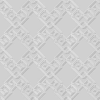 Weiße papierkunst überprüfen quadratische kreuzrahmen-spiralketten-linie, stilvoller dekorationsmusterhintergrund für web-banner-grußkarte