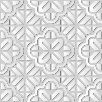 Weiße papierkunstkurve kreuzgeometrie rahmenlinie blume, stilvoller dekorationsmusterhintergrund für web-banner-grußkarte