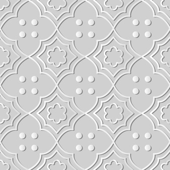 Weiße papierkunstkurve kreuzrahmen-blumenlinien-punkt, stilvoller dekorationsmusterhintergrund für web-banner-grußkarte