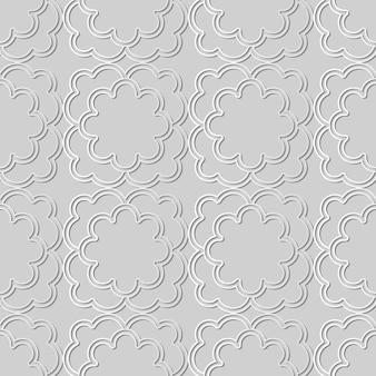 Weiße papierkunstkurve kreuzrahmenblume, stilvoller dekorationsmusterhintergrund für web-banner-grußkarte