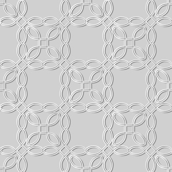 Weiße papierkunstkurve runde ecke quadratische kreuzrahmenlinie, stilvoller dekorationsmusterhintergrund für web-banner-grußkarte