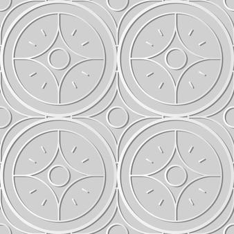 Weiße papierkunstkurve runde kreuzsternrahmenlinie, stilvoller dekorationsmusterhintergrund für web-banner-grußkarte
