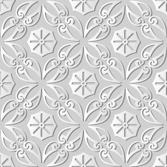 Weiße papierkunstkurve spiral cross frame vine blume, stilvoller dekorationsmusterhintergrund für webfahnengrußkarte