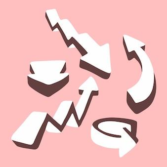 Weiße pfeile 3d stellten sammlungs-ikonen-symbol auf flacher vektor-illustration des rosa hintergrundes ein