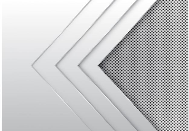 Weiße pfeilschicht-richtungsüberlappung mit kreismaschenhintergrund.
