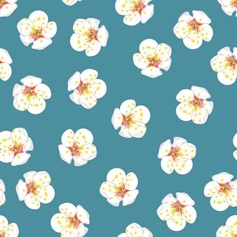 Weiße pflaumen-blüten-blume nahtlos auf blauem hintergrund